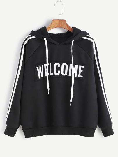 Black Hooded Raglan Sleeve Striped Trim Patch Sweatshirt