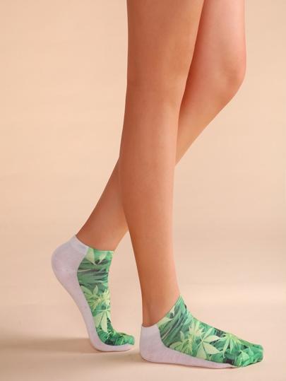 Зелёные и белые носки с принтом листа