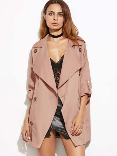 Pink Oversized Collar Double Breasted Cropped Trench Coat