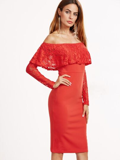 Orange Floral Lace Ruffle And Sleeve Off The Shoulder Dress