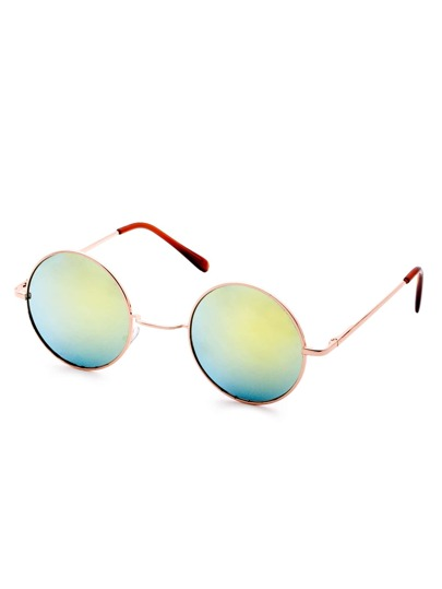 Gold Frame Iridescent Mirrored Round Lens Sunglasses