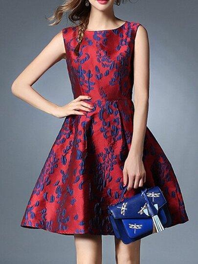 Red Jacquard A-Line Dress