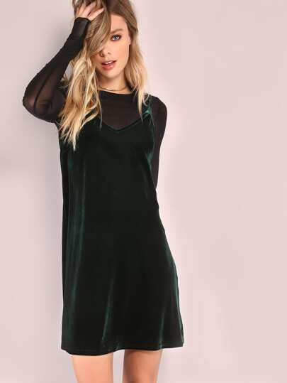 Dark Green Swing Cami Dress