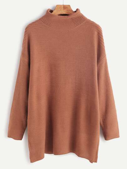 Brown Mock Neck Drop Shoulder Sweater