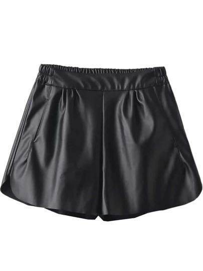 Pantalones cortos de PU con cintura elástica - negro