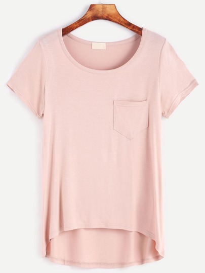 Pink Dip Hem T-shirt With Pocket