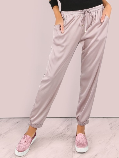 Satin Jogger Drawstring Pants MAUVE