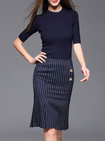 Navy Knitwear Top With Striped Skirt