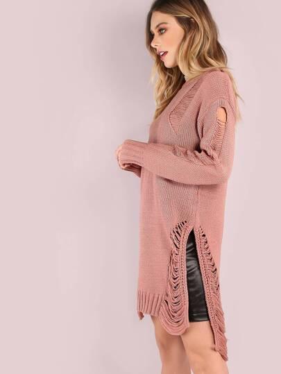 Frayed Loose Knit Slit Sweater MAUVE