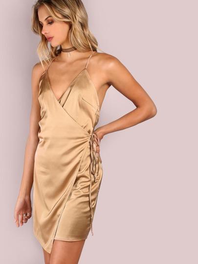 Satin Wrap Tie Mini Dress ALMOND