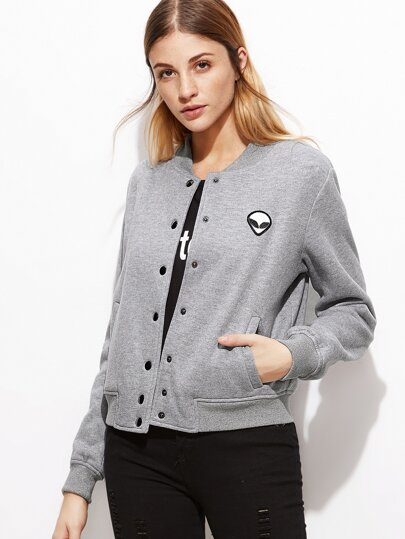 Heather Grey Button Up Baseball Jacket With Alien Patch