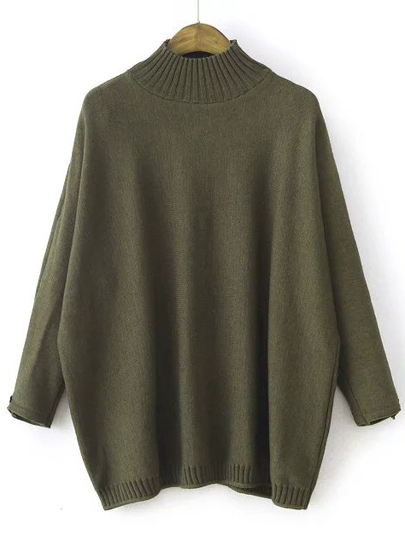 Army Green Mock Neck Patch Detail Loose Sweater