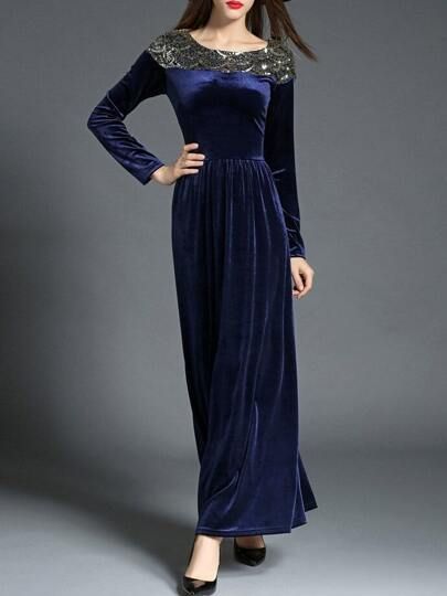 Navy Sequined Velvet Maxi Dress