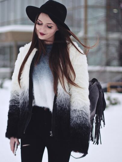 Black White Long Sleeve Faux Fur Coat