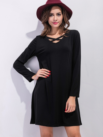 Black Lattice Front Shift Dress