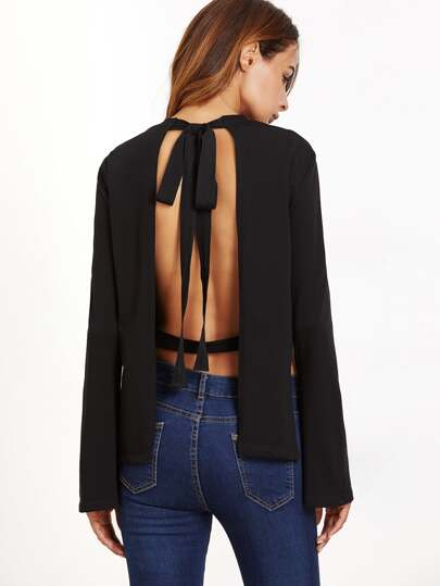 Black Bow Tie Open Back Side Slit Bell Sleeve T-shirt