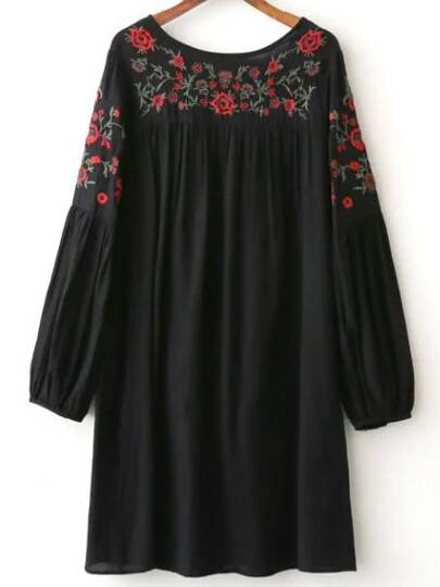 Black Floral Embroidery Long Sleeve T-shirt Dress