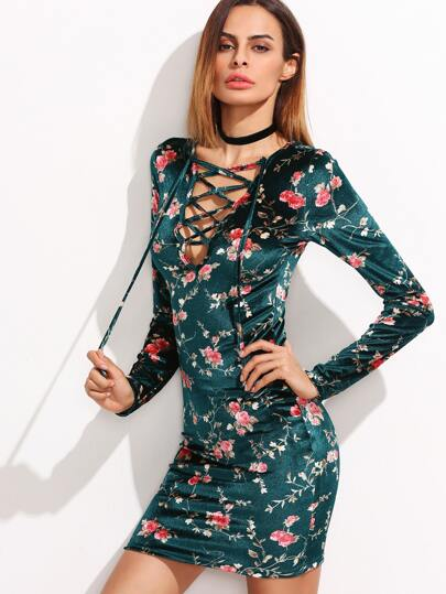 Green Floral Print Lace Up V Neck Bodycon Dress