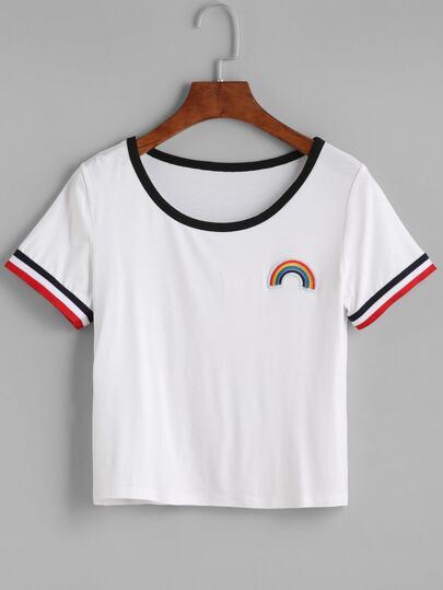 T-Shirt Ritagliato Ricamato Toppa Albero - Bianco