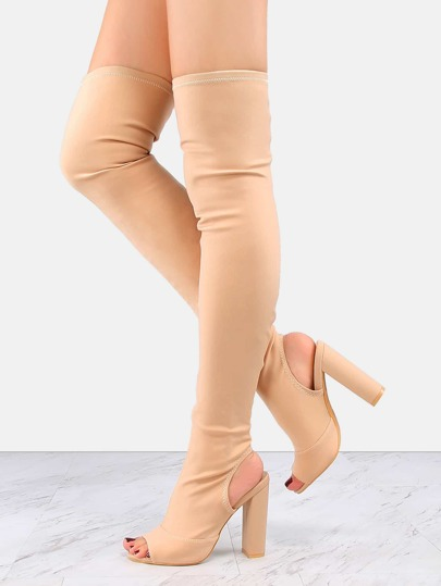 Peep Toe Chunky Heel Tall Boots NUDE