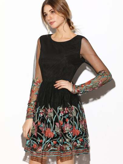 Black Sheer Sleeve Embroidered Mesh Dress