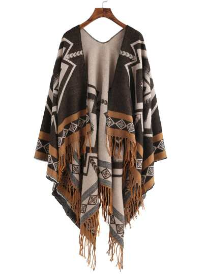 Кофейный шарф шалью с принтом