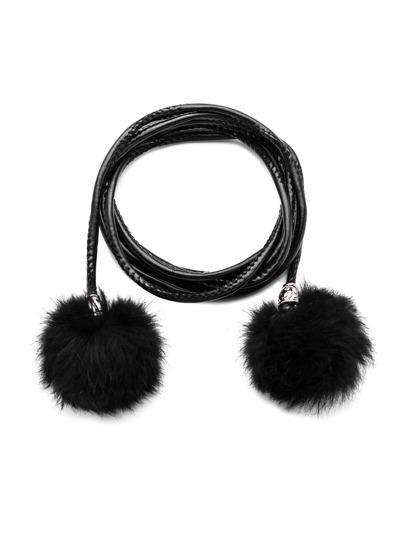 Black Braided Double Pom Pom Skinny Wrap Belt