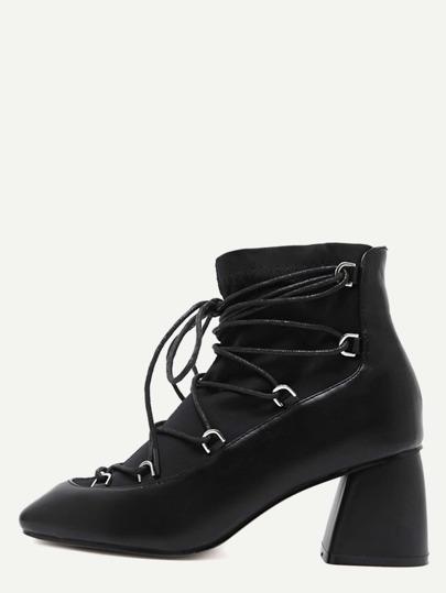 чёрные искусственные кожаные квадратные ботинки