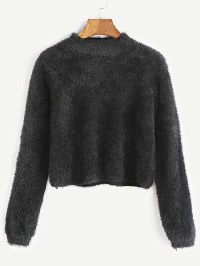 Jersey corto con cuello redondo - negro