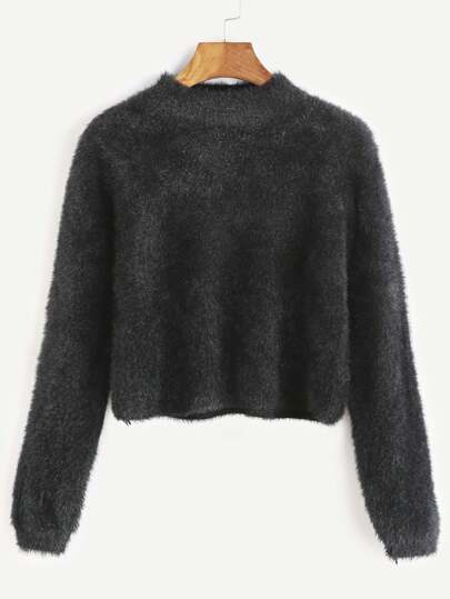 Black Crew Neck Crop Fuzzy Sweater