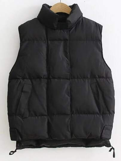Black Stand Collar High Low Padded Vest