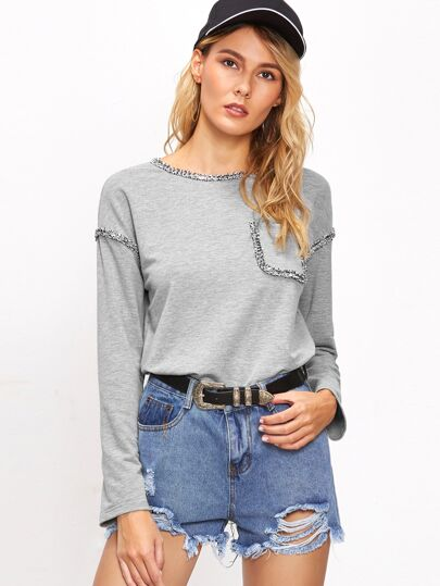 Heather Grey Pocket Front T-shirt With Frayed Detail