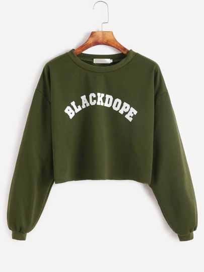 Army Green Letter Print Drop Shoulder Crop Sweatshirt