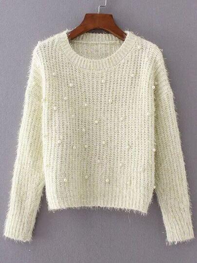 Beige Round Neck Long Sleeve Beaded Sweater