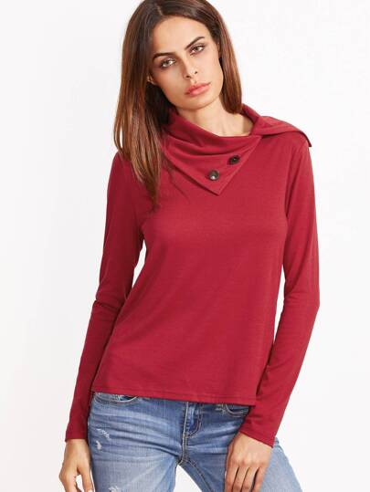 Red Button Turtleneck Slit High Low T-shirt