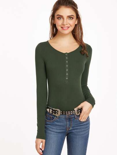 Olive Green Ribbed Knit Button Front Bodysuit
