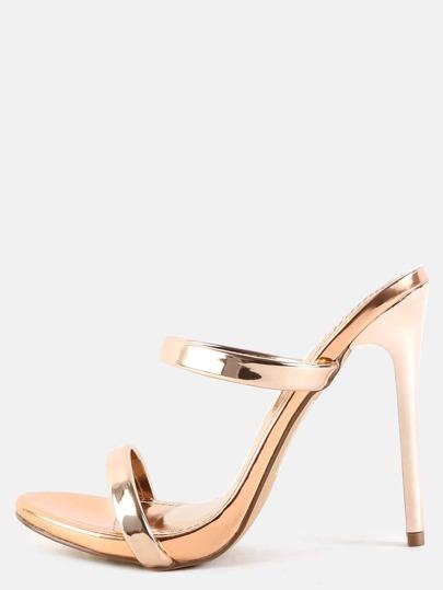 Metallic Slip On Stiletto Heels ROSE GOLD