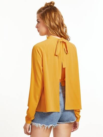 Blusa con abertura y cordón en espalda - amarillo