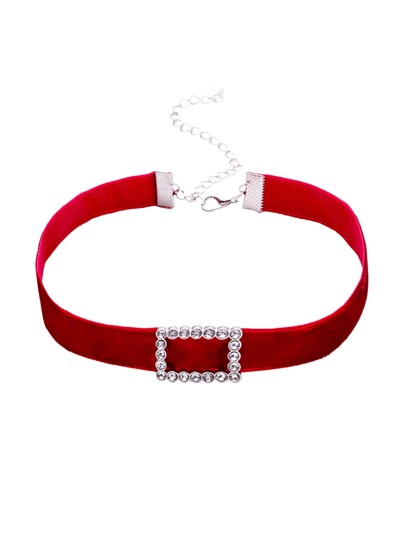 Collier ras du cou velours rectangle strass -rouge