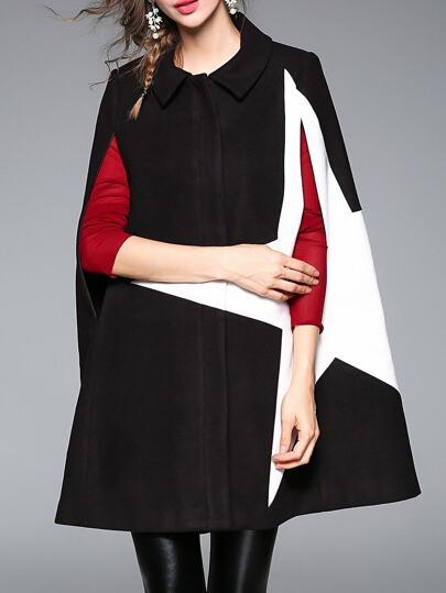 Abrigo estilo capa con estampado de estrella - negro