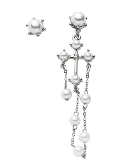 Silver Plated Faux Pearl Beaded Asymmetrical Earrings