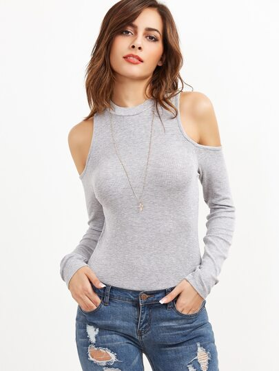 Heather Grey Ribbed Knit Cold Shoulder Bodysuit
