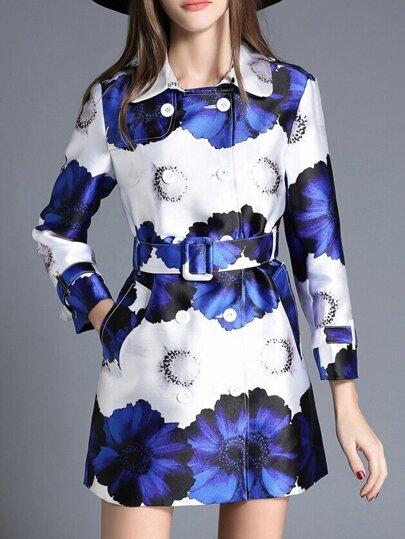 White Blue Lapel Flowers Print Belted Coat