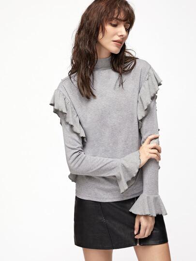 Camiseta con cuello alto y cremallera y puño de volantes - gris