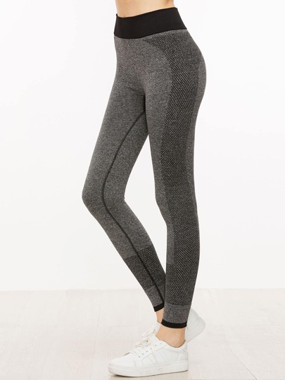 Grey Contrast Trim Leggings