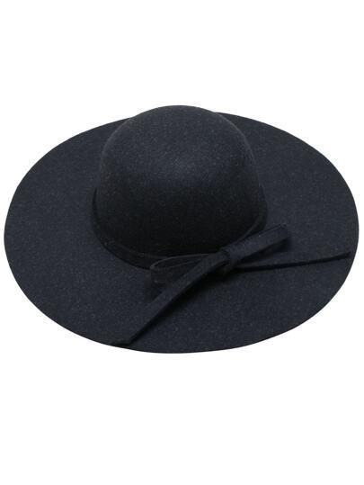 Black Bow Embellished Round Crown Floppy Hat