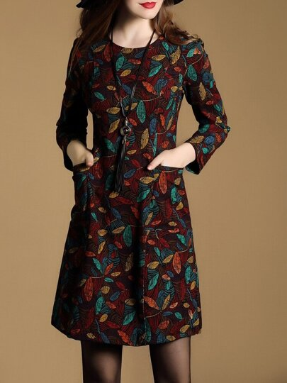 Vestido recto con estampado y bolsillo - multicolor