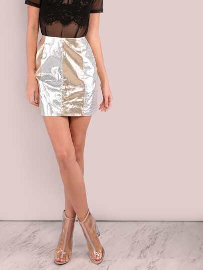 Metallic Shine Mini Skirt GOLD SILVER