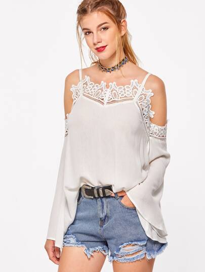 Open Shoulder Flute Sleeve Lace Trim Top