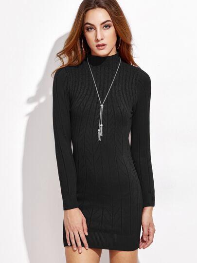 Black Mock Neck Cable Knit Dress